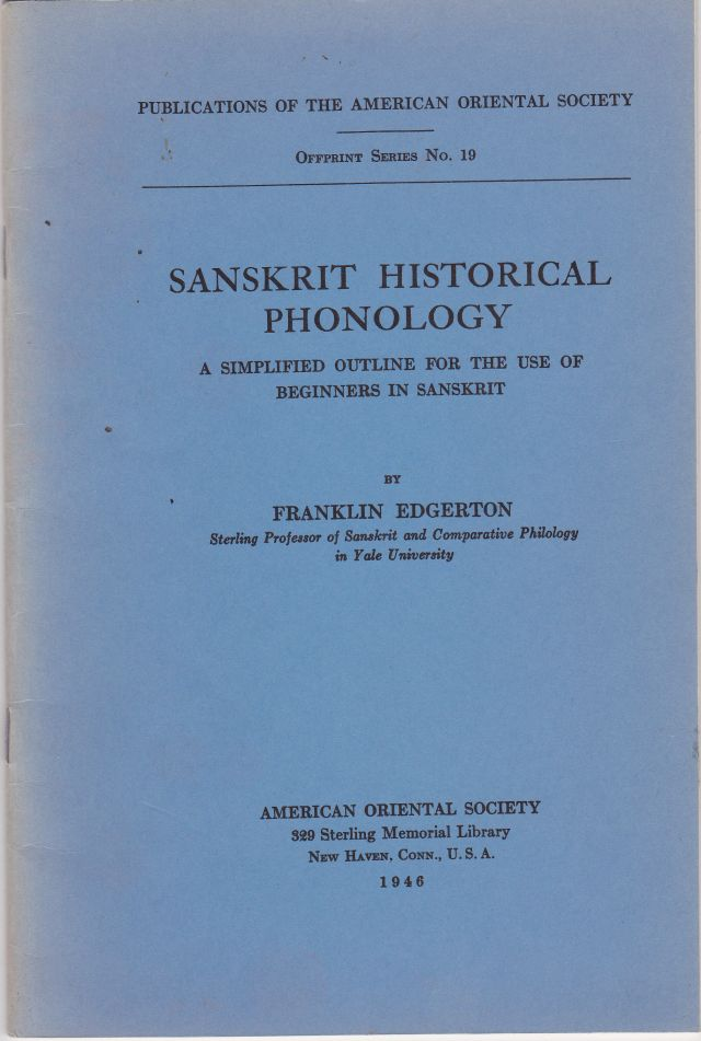 Image for Sanskrit Historical Phonology A Simplified Outline for the Use of Beginners in Sanscrit