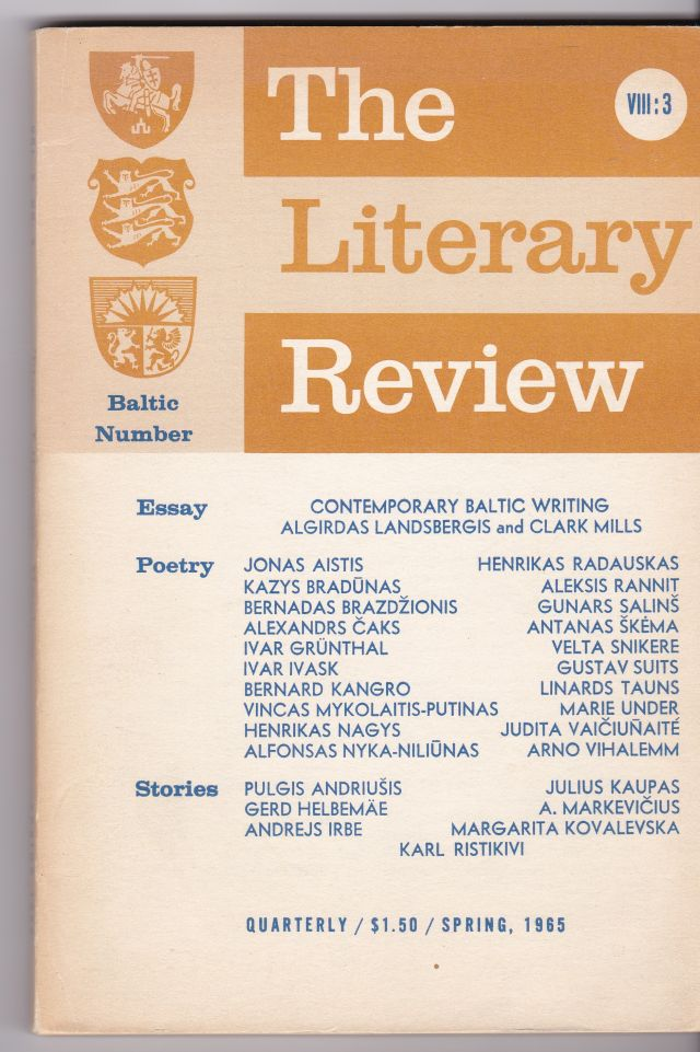 Image for The Literary Review  An International Quarterly Bublished By Fairleigh Dickinson University  VIII:3 Spring 1965 BALTIC  NUMBER