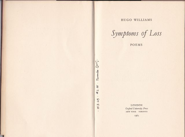 Image for Symptoms of Loss   Poems